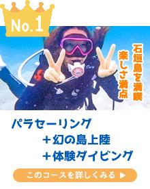 石垣島パラセーリング+幻の島上陸+体験ダイビング